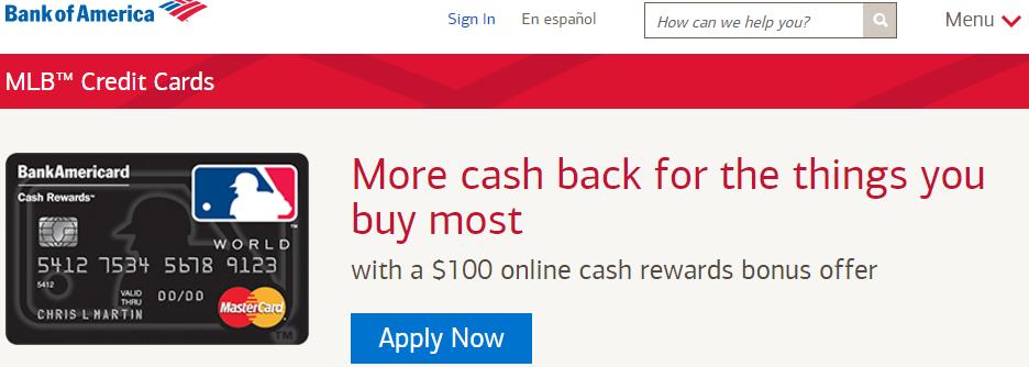bank of america mlb cash rewards