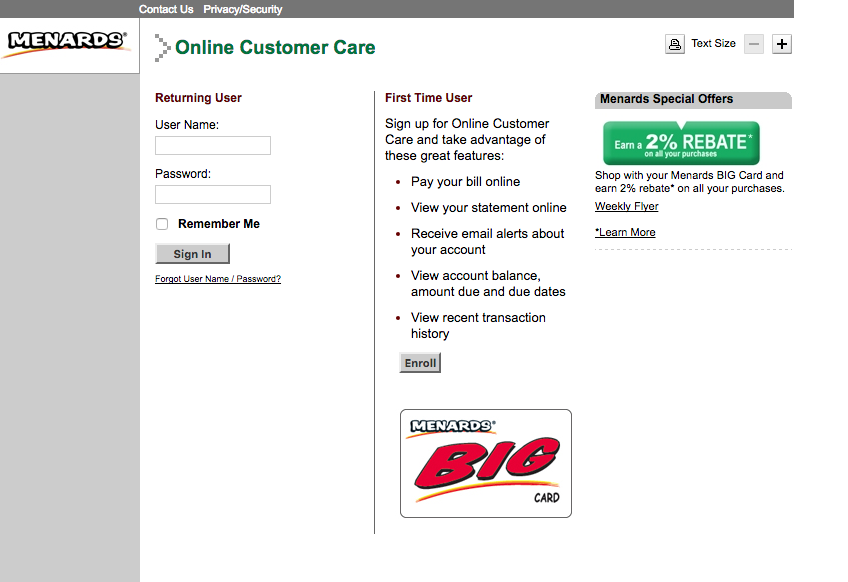 Capital One Credit Card Online Payment Login >> Menards BIG Card | Login Make a Payment