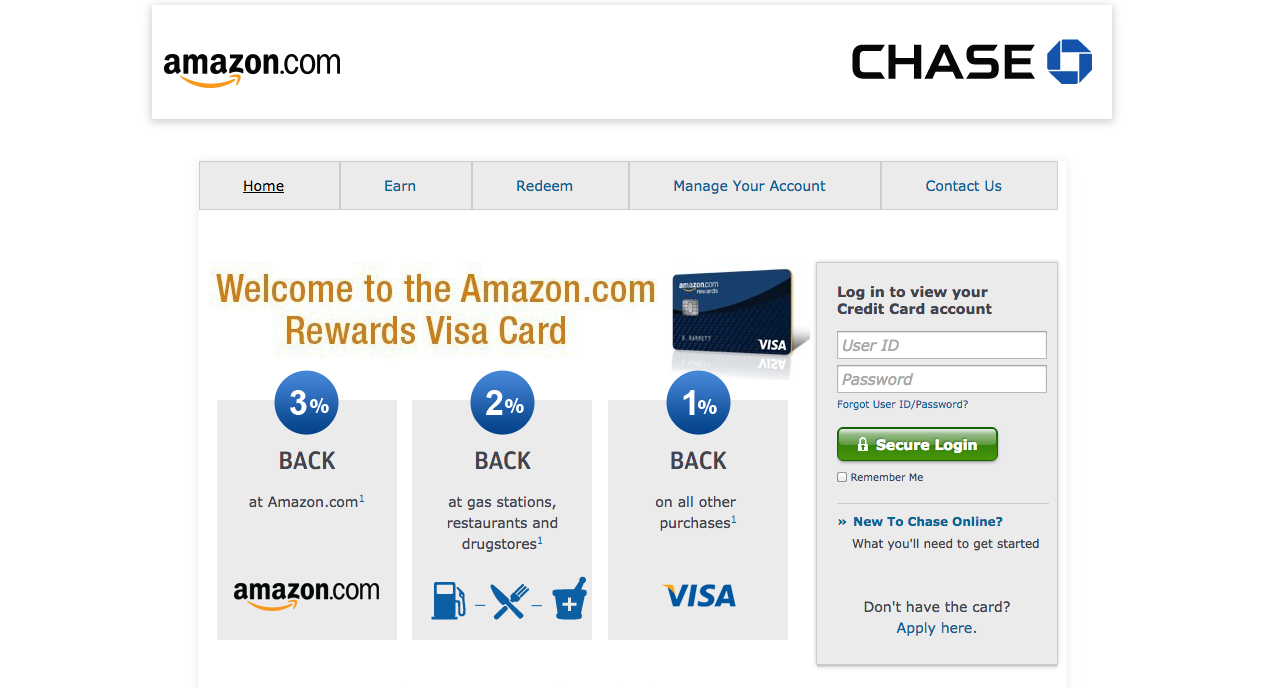 chase amazon visa card login