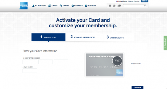 American Express Platinum Credit Card (Activation Screen Login)