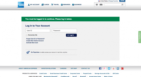 American Express Platinum Credit Card (Log In Screenshot)