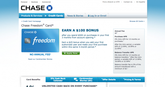 Chase Freedom Credit Card - Apply 1