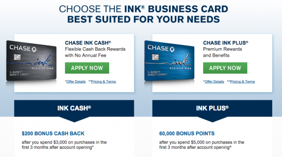 Chase Ink Business Credit Card - Comparison 1