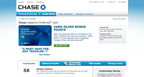 Chase Sapphire Preferred Credit Card - Apply 1