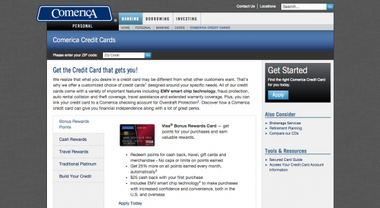 Comerica Visa Bonus Rewards Credit Card - Apply Landing Page