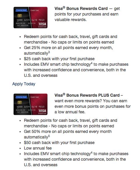 Comerica Visa Bonus Rewards and Visa Bonus Rewards Plus Comparison