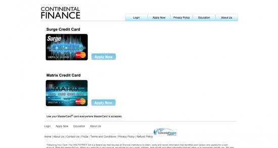Continental Finance Matrix Credit Card - Apply 1
