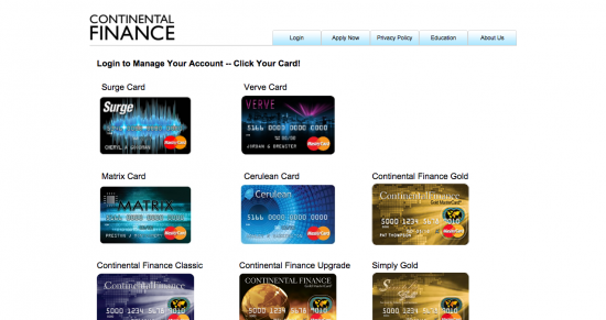 Continental Finance Matrix Credit Card - Login 1