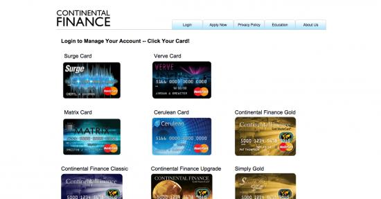 Continental Finance Surge Credit Card - Login 1