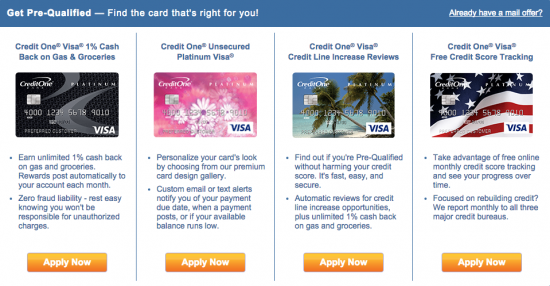 Credit One Credit Cards - Comparison Chart