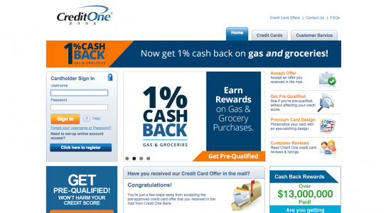 Credit One Credit Cards - Login 1