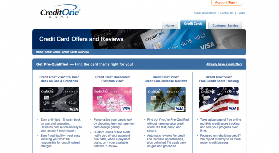 Credit One Unsecured Platinum Visa Credit Card - Apply 1