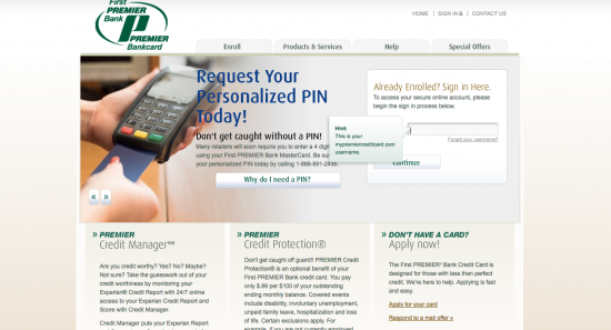 First Premier Credit Card - Login 1