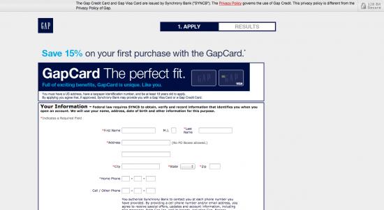 Gap Credit Card - Apply 1