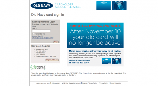 Old Navy Credit Card - Login 1