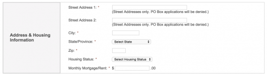 Raymour-and-Flanigan-credit-card-application-address-and-housing-information