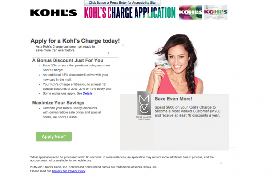Kohl's Credit Card Apply Now Screenshot
