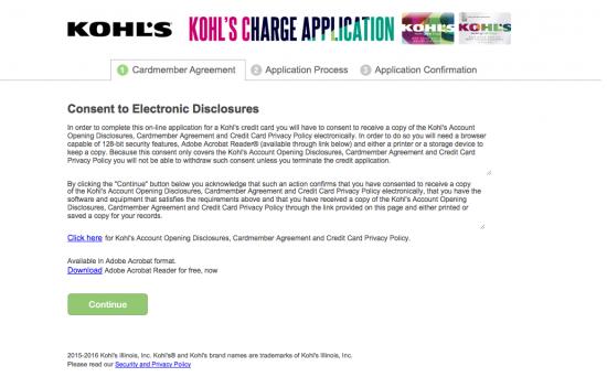 Kohl's Credit Card Application Page 1 Screenshot