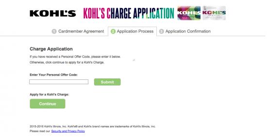 Kohl's Credit Card Application Page 2 Screenshot