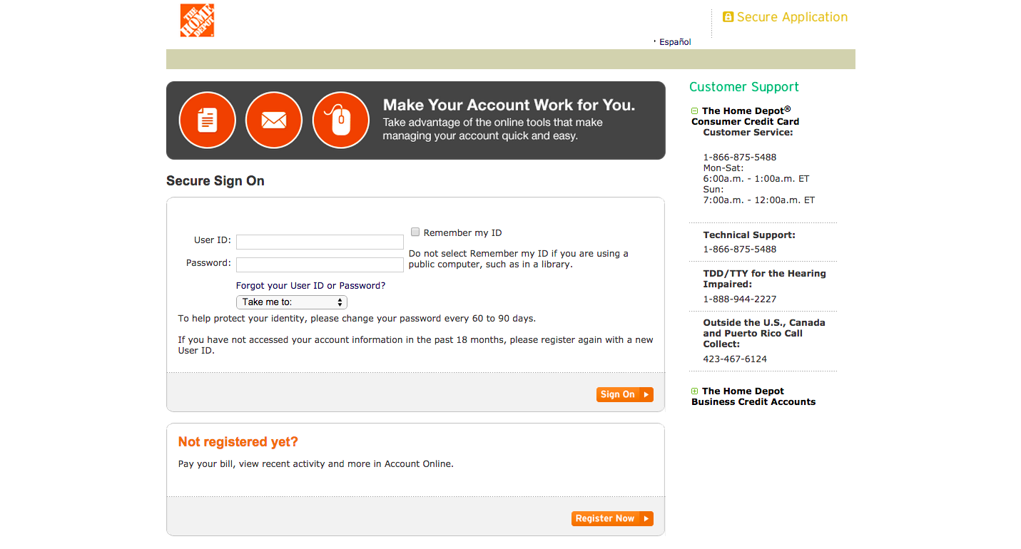 Home Depot Credit Card Login | Make a Payment