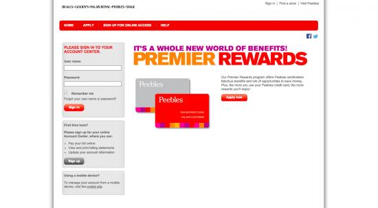 Peebles credit card login