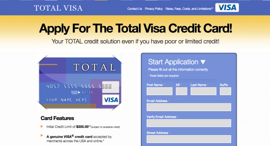 Total Visa Unsecured Credit Card - Apply 1