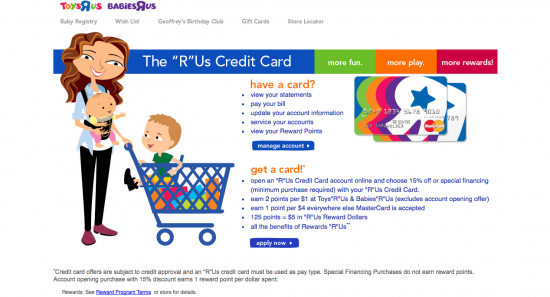 Toys R Us Credit Card - Landing Page