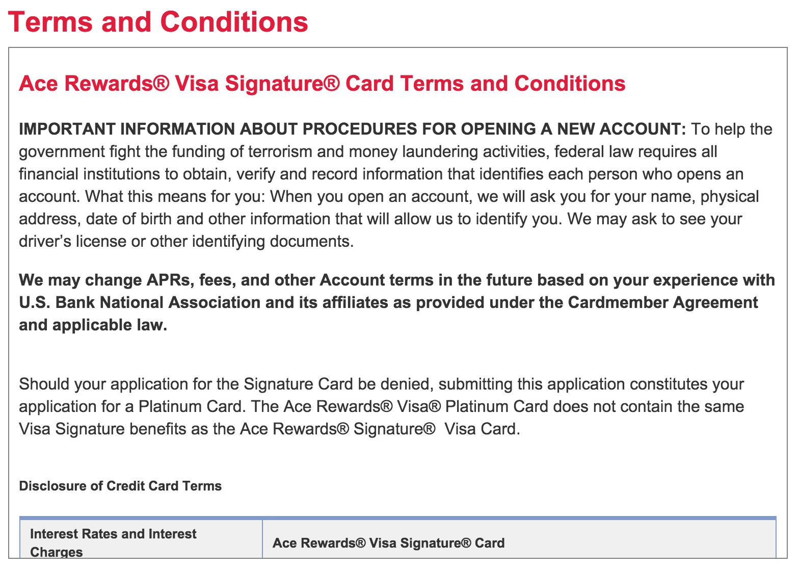 ace rewards visa credit card
