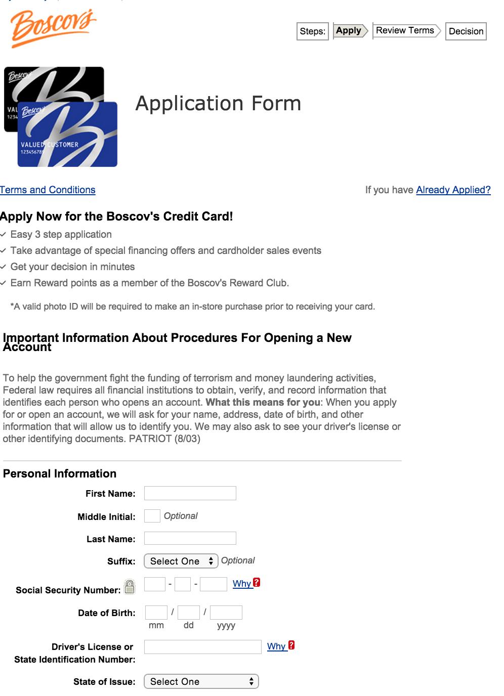 apply for the boscov s credit card. Black Bedroom Furniture Sets. Home Design Ideas