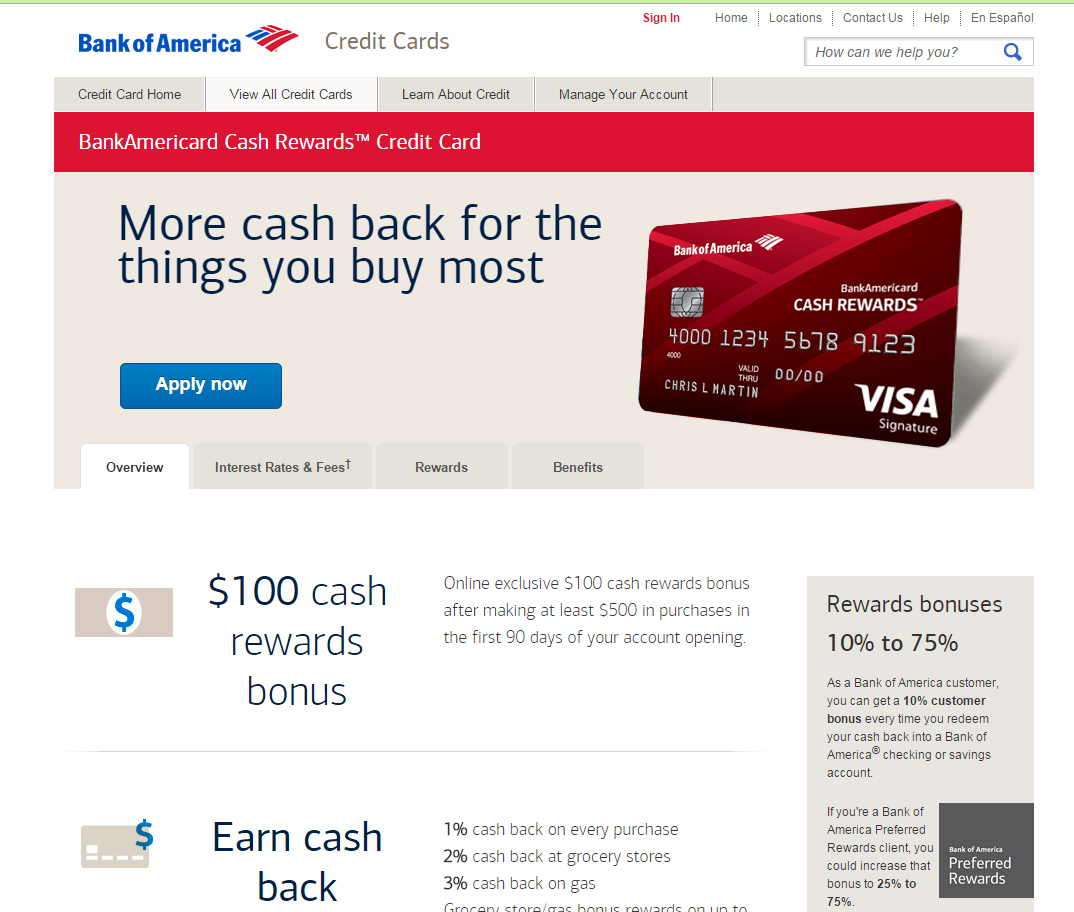 How To Apply For A BankAmericard Cash Rewards Credit Card