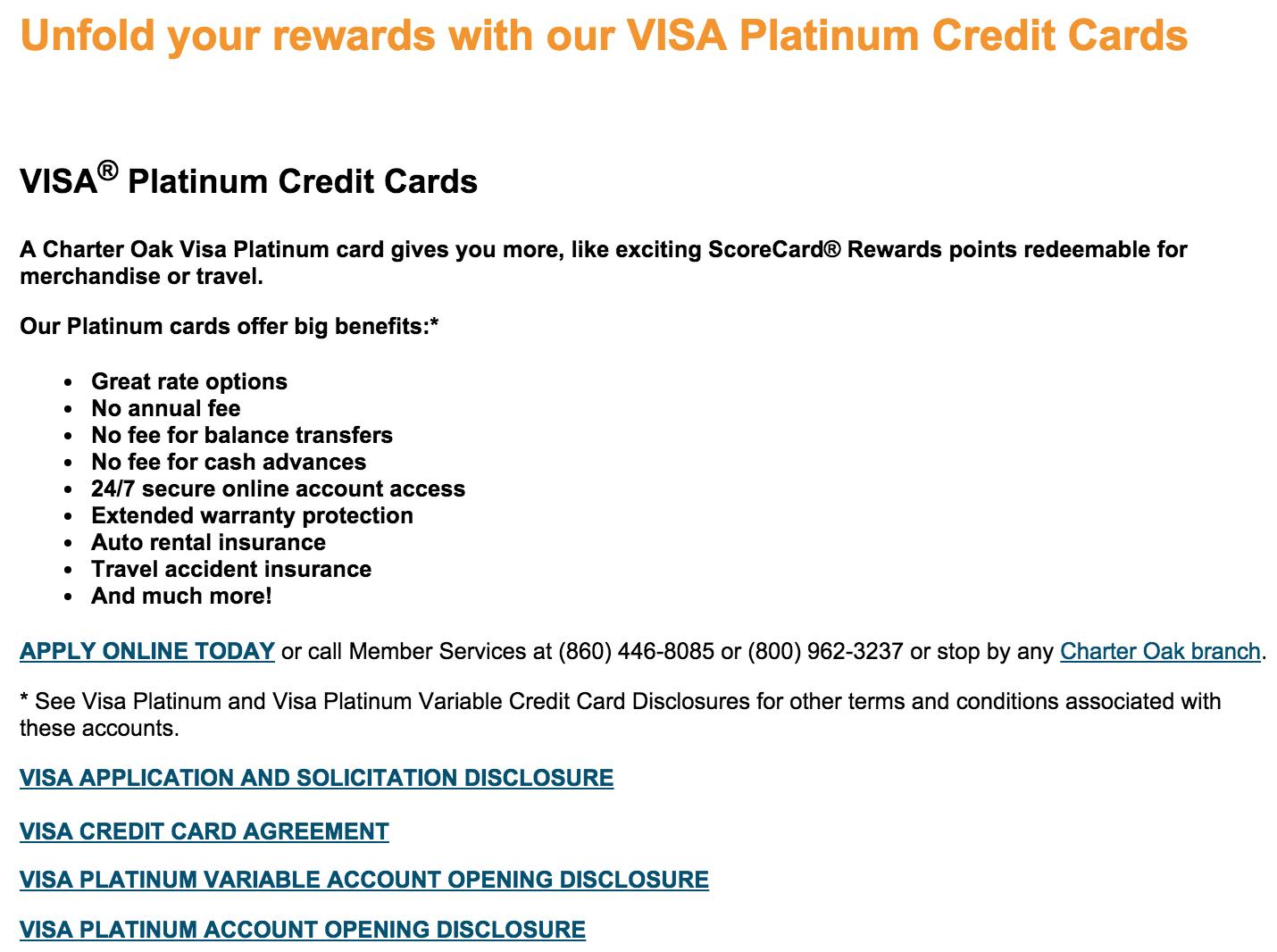 how to apply for the charter oak visa platinum credit cards. Black Bedroom Furniture Sets. Home Design Ideas