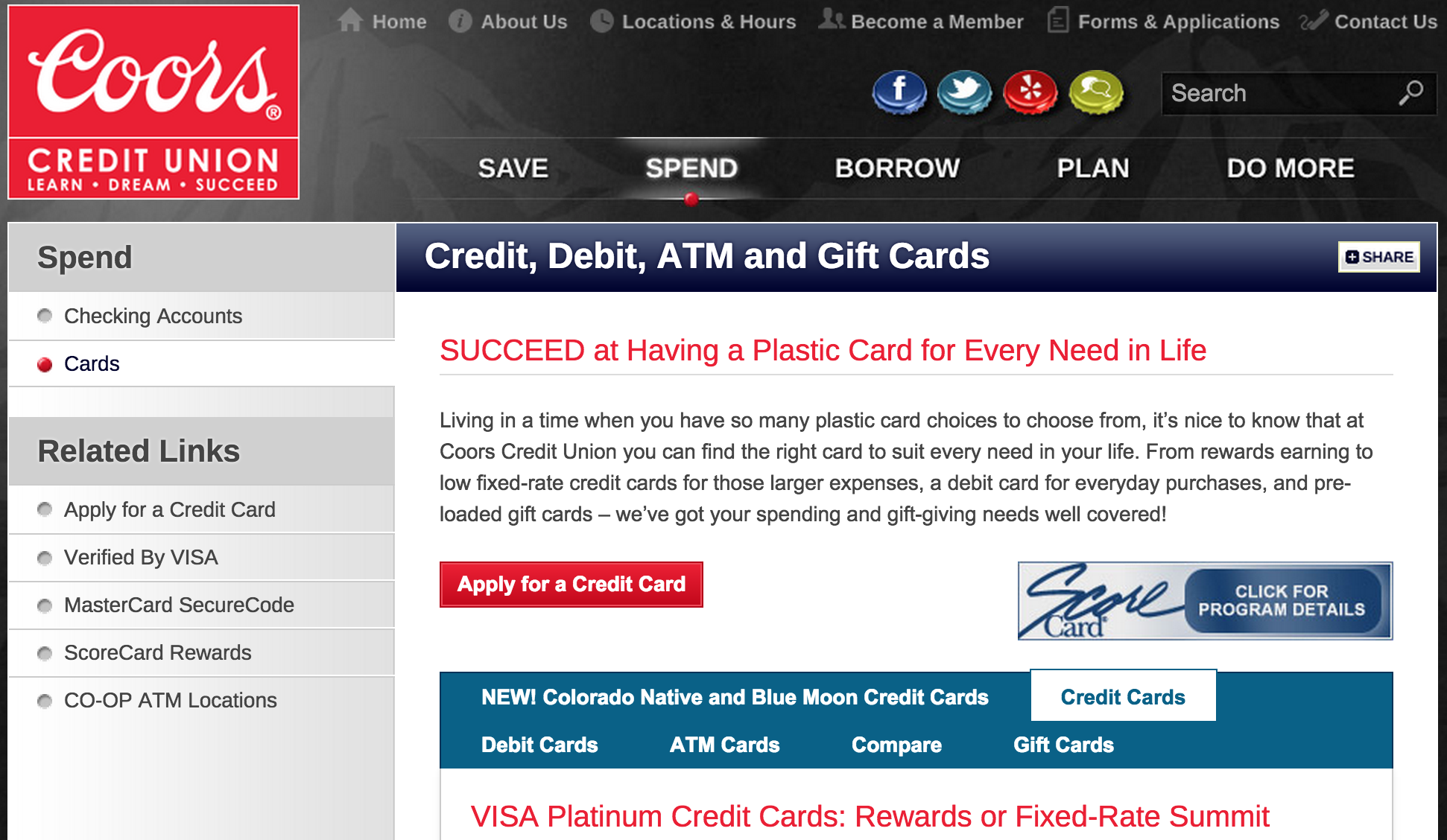 How to Apply for the Coors Credit Union Visa Credit Cards
