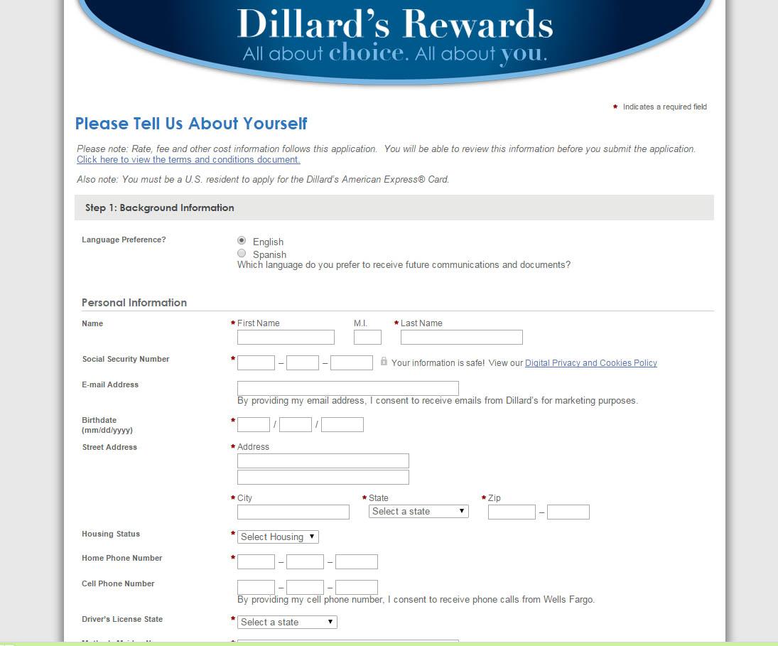 dillards american express login