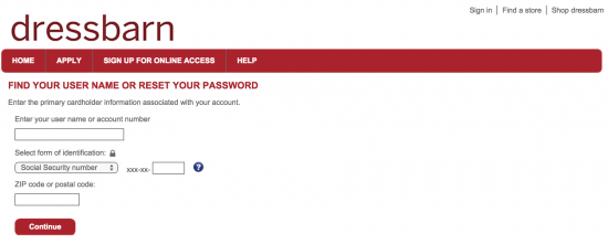 dressbarn-credit-card-forgot-password-page