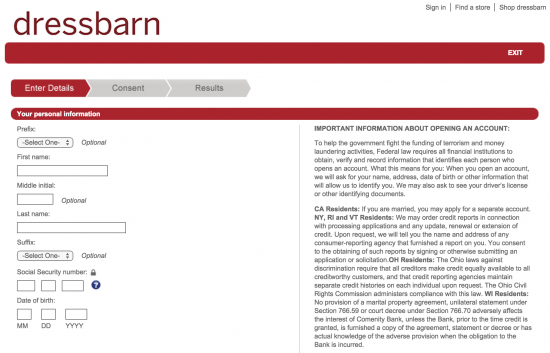 dressbarn-credit-card-online-application-personal-information
