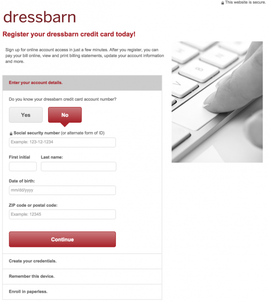 dressbarn-credit-card-sign-up-page