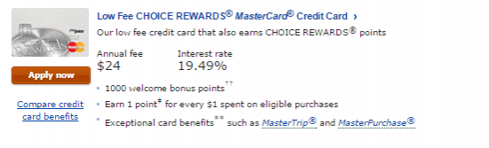 Choice rewards mastercards displayed below select apply now on the