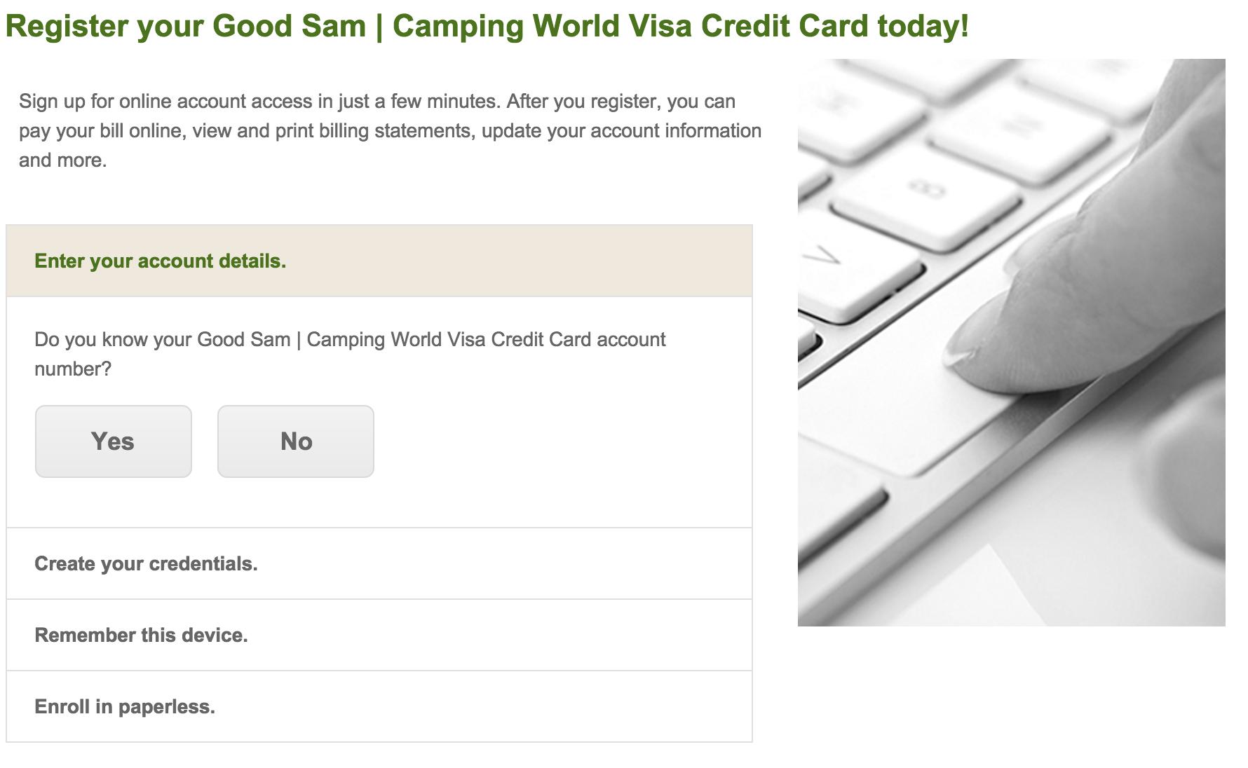 good sam camping world visa login make a payment. Black Bedroom Furniture Sets. Home Design Ideas