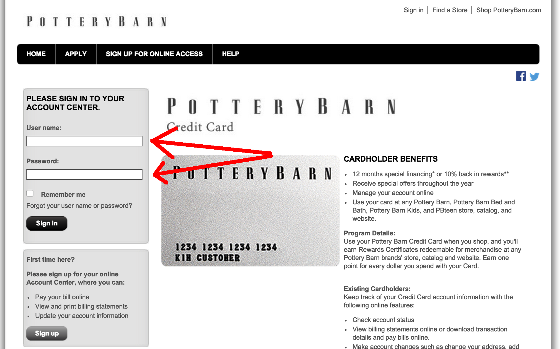 Pottery Barn Credit Card Login Make A Payment