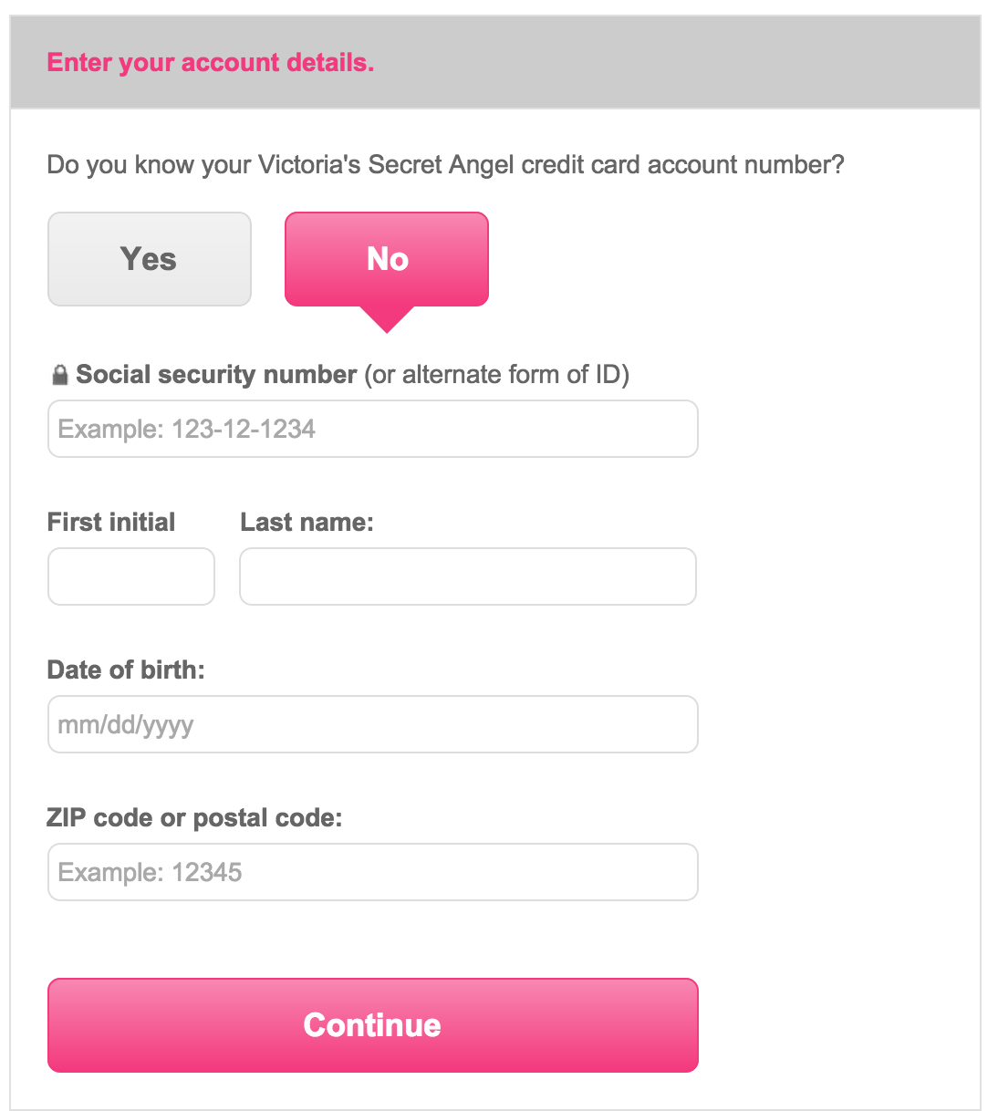 Victoria's Secret Credit Card Login