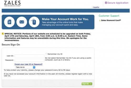 zales-credit-card-login-webpage